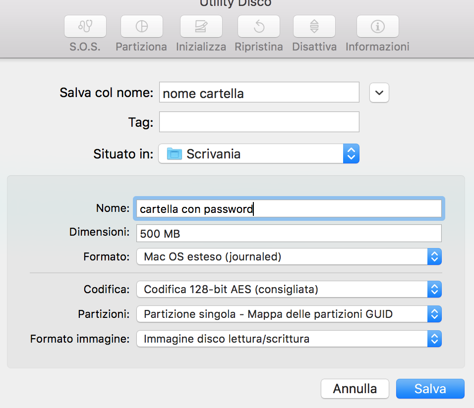 proteggere cartella mac password